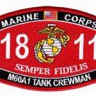 United States MARINE CORPS 1811 M60A1 TANK CREWMAN MOS MILITARY PATCH -SEMPER FI