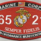 "USMC ""AVN ORDANANCE MUNITIONSMAN"" 6521 MOS MILITARY PATCH SEMPER FIDELIS MARINES"