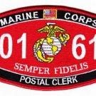 "USMC ""POSTAL CLERK"" 0161 MOS MILITARY PATCH SEMPER FIDELIS"