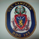 DDG-102 USS SAMPSON Guided Missile Destroyer Military Patch THROUGH COURAGE