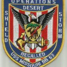 USS MISSOURI BB-63 WARSHIP MILITARY PATCH OPERATIONS DESERT SHIELD & STORM RECAL
