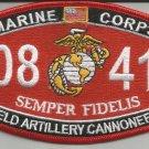 "USMC ""FIELD ARTILLERY CANNONEER"" 0841 MOS MILITARY PATCH SEMPER FIDELIS"
