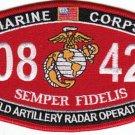 "USMC ""FIELD ARTILLERY RADAR OPERATOR"" 0842 MOS MILITARY PATCH SEMPER FIDELIS"