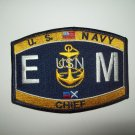 United States NAVY Engineers Electricans Mate Ratings Chief Military Patch - EM