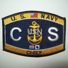 United States NAVY Chief Culinary Specialist Rating Military Patch - CS - USN