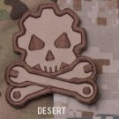 DEATH MECHANIC - DESERT - GEARHEAD TACTICAL BADGE MORALE VELCRO MILITARY PATCH