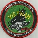 NAVY VA-12 Aviation Attack Squad Tweleve Military Patch WESTPAC 1966-67 VIETNAM