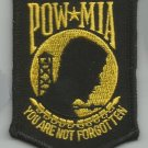 POW  MIA  BLACK & GOLD MILITARY PATCH - YOU ARE NOT FORGOTTEN