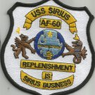 USS SIRIUS AF - 60 ALSTEDE-CLASS STORES SHIP MILITARY PATCH REPLENISHMENT