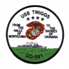 USS TWIGGS DD-591 DESTROYER MILITARY PATCH HALLS OF MONTEZUMA SHORES OF OKINAWA