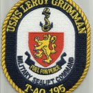 USNS LEROY GRUMMAN T-AO 195 FLEET REPLENISHMENT OILER SHIP CREST MILITARY PATCH