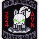 ARMY 224th AVIATION THE PUNISHERS SKULL VELCRO MILITARY PATCH NEVER MORE