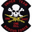 UNITED STATES SNIPER TEAM KOSOVO FORCE MILITARY PATCH ONE SHOT ONE KILL SKULL