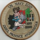 US Navy EOD Zabul Province AFGHANISTAN 821 Military Patch (Girl on bomb)