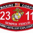 "USMC ""AMMO ARTILLERY EXPLOSIVES""  2311 MOS MILITARY PATCH SEMPER FIDELIS"