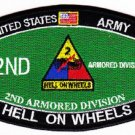 ARMY 2nd ARMORED DIVISION MOS MILITARY PATCH HELL ON WHEELS