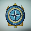DDG-5 USS CLAUDE V RICKETTS GUIDED MISSILE DESTROYER MILITARY PATCH