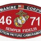 "USMC ""MOTION PICTURE CAMERAMAN"" 4671 MOS MILITARY PATCH SEMPER FIDELIS"