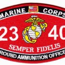 "USMC ""GROUND AMMUNITION OFFICER"" 2340 MOS MILITARY PATCH SEMPER FIDELIS MARINES"
