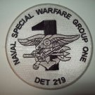 NAVAL SPECIAL WARFARE GROUP ONE DET 219 MILITARY PATCH (BLACK & WHITE)