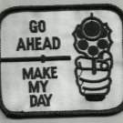 GO AHEAD MAKE MY DAY GUN MOTORCYCLE LEATHER JACKET VEST BIKER PATCH