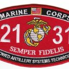 """USMC """"TOWED ARTILLERY SYSTEMS TECHNICIAN"""" 2131 MOS MILITARY PATCH SEMPER FIDELIS"""