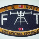United States Navy Deck Fire Control Technician Ratings Military Patch - FT