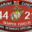 "USMC ""LEGAL SERVICES SPECIALIST"" 4421 MOS MILITARY PATCH SEMPER FIDELIS MARINES"