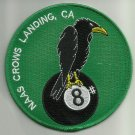 NAAS CROWS LANDING, CA MILITARY PATCH NAVAL AUXILIARY AIR STATION EIGHTBALL CROW