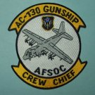 United States AIR FORCE AC-130 GUNSHIP, CREW CHIEF, AFSOC MILITARY PATCH - USAF