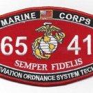 "USMC ""AVIATION ORDNANCE SYSTEM TECH"" 6541 MOS MILITARY PATCH SEMPER FIDELIS"