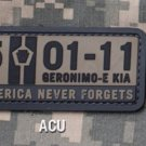 5-01-11 NEVER FORGETS ACU TACTICAL ISAF BADGE MORALE PVC VELCRO MILITARY PATCH