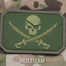 PIRATE SKULL FLAG MULTICM TACTICAL COMBAT BADGE MORALE PVC VELCRO MILITARY PATCH