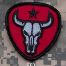 BULL SKULL RED BLACK OPS ISAF COMBAT TACTICAL BADGE MORALE VELCRO MILITARY PATCH