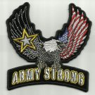 ARMY STRONG UPWING EAGLE MOTORCYCLE BIKER LEATHER JACKET VEST MILITARY PATCH
