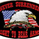 NEVER SURRENDER RIGHT TO BEAR ARMS MOTORCYCLE BIKER JACKET VEST MILITARY PATCH