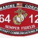 "USMC ""AIRCRAFT COMMUNICATIONS AV-8"" 6412 MOS MILITARY PATCH SEMPER FIDELIS"
