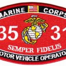 "USMC ""MOTOR VEHICLE OPERATOR"" 3531 MOS MILITARY PATCH SEMPER FI MARINE CORPS"
