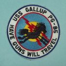 US NAVY USS GALLUP PG 85 PATROL GUNBOAT MILITARY PATCH - HAVE GUNS WILL TRAVEL