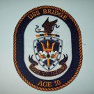USS BRIDGE AOE-10 Fast Combat Support Ship Military Patch - SHIP CREST