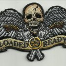 LOADED & READY SKULL WITH WINGS GUNS MOTORCYCLE JACKET VEST BIKER PATCH BLUE