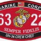 "USMC ""UH-34 CREW CHIEF"" 6322 MOS MILITARY PATCH SEMPER FIDELIS MARINE CORPS"