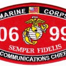 "USMC ""COMMUNICATIONS CHIEF"" 0699 SEMPER FIDELIS MILITARY MOS PATCH"