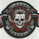 LONER REBEL SKULL MOTORCYCLE BIKER JACKET VEST PUNK  ROCKABILLY HOT ROD PATCH