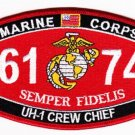 "USMC ""UH-1 CREW CHIEF"" 6174 MOS MILITARY PATCH SEMPER FIDELIS MARINE CORPS"