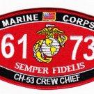"USMC ""CH-53 CREW CHIEF"" 6173 MOS MILITARY PATCH SEMPER FIDELIS MARINE CORPS"