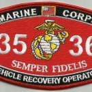 """USMC """"VEHICLE RECOVERY OPERATOR"""" 3536 MOS MILITARY PATCH SEMPER FIDELIS MARINES"""