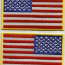 SET OF 2 ( PAIR ) AMERICAN FLAGS LEFT & RIGHT FACING MILITARY PATCHES - USA