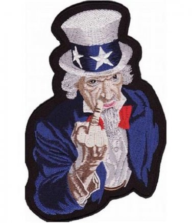 UNCLE SAM GIVING THE FINGER MOTORCYCLE JACKET BIKER VEST MILITARY PATCH