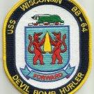 "USS WISCONSIN BB-64 BATTLESHIP MILITARY PATCH DEVIL BOMB URLER ""FORWARD"""